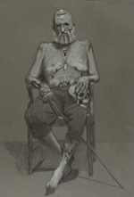Portrait of an intriguing figure named Erl. Graphite on bristol.